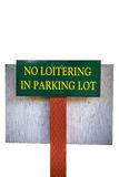 No Loitering In Parking Lot Royalty Free Stock Photos