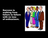No Loss of Enthusiasm. Business illustration showing five businesspeople and the words, 'Success is walking from failure to failure with no loss of enthusiasm Royalty Free Stock Photos