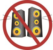 No loud music. An image showing no loud music Royalty Free Stock Images