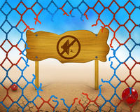 No loud sound symbol on wooden and broken red and blue net Royalty Free Stock Images