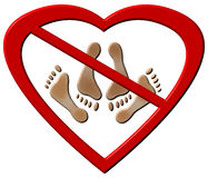No Love Making Feet Sign Stock Photo