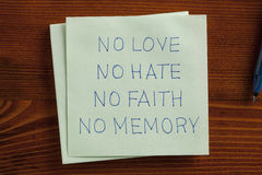 No love,no hate handwritten on a note Royalty Free Stock Photography