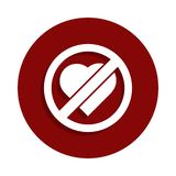 No love, prohibited sign icon in badge style. One of Decline collection icon can be used for UI, UX stock illustration