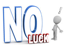 No luck. Word with little man taken by surprise against white background Stock Photo