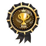 No 1 luxurious award ribbon. For any domain of activity. Contains a golden champions cup Royalty Free Stock Photography