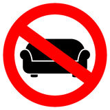 No lying on sofa sign Stock Photos
