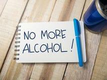 No más de alcohol, concepto de motivación de las citas de las palabras imagen de archivo libre de regalías