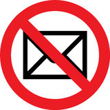 No mail sign. No mail allowed sign stock illustration