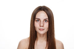 NO MAKEUP Natural Clean Face of Young Brunette Girl Without No m Stock Image