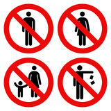 No man sign, No woman sign, Parent and child sign, No littering Royalty Free Stock Image