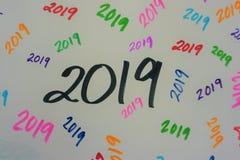2019 no marcador multicolorido imagem de stock royalty free