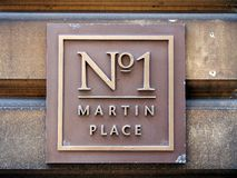 NO1 Martin Place Street Sign lizenzfreie stockfotos