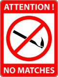 No match sign Vector illustration. Flat design. No match, fire prohibited symbol. Sign indicating the prohibition or rule. Warning and forbidden. Flat design Stock Images