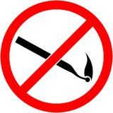 No match sign Vector illustration. Flat design. No match, fire prohibited symbol. Sign indicating the prohibition or rule. Warning and forbidden. Flat design Royalty Free Stock Photography