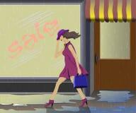 No mau tempo, não há nenhum desejo comprar. Fotografia de Stock