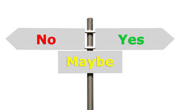 No, Maybe and Yes sign. Conceptual picture of a signpost with no, maybe and yes isolated on white background (all signs cleaned on grey&#x29 Royalty Free Stock Photos
