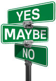 No Maybe Yes street sign decision. Street signs to make your choice between No Maybe or Yes decision Royalty Free Stock Photos