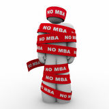 No MBA Man Wrapped in Tape Lack of Masters Holding You Back 3d I. Llustration Stock Image
