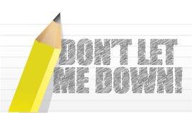 No me deje abajo, mensaje escrito Imágenes de archivo libres de regalías