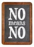 No means ...  anti-rape slogan on blackboard Stock Photo