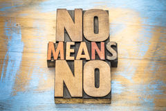 No means ...  anti-rape slogan in wood type. No means no anti-rape slogan -  communication concept - word abstract in vintage letterpress wood type Stock Image