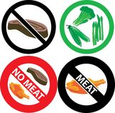 No Meat Sign. Vector Illustration of four no meat Signs. See my others in this series Royalty Free Stock Image