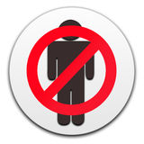 No men button. Isolated in white background Royalty Free Stock Images