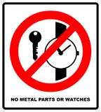 No metallic articles or watches, No access for people with metallic implants signs Royalty Free Stock Images