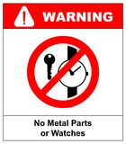 No metallic articles or watches, No access for people with metallic implants signs Stock Photography