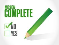 No mission complete approval sign concept. Illustration design graphic over white Royalty Free Stock Photography