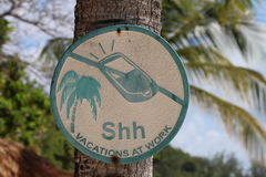 No mobile phone sign hanging on palm tree, ssh vacations at work stock photos