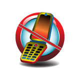 No mobile phones allowed. Abstract colorful illustration with no mobile phone design. No cellular phones allowed Stock Illustration