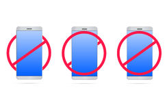 No mobile phones 3d. Illustration with realistic mobile phone Stock Photography