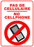 No mobile phones sign. Bilingual illustration of a no mobile phones sign - french and english language Stock Images