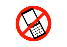 No Mobile Phones Sign. No mobile phones symbol isolated on a white background Royalty Free Stock Images