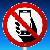 No mobile phones sign on blue Stock Image