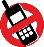 No mobile phones. Sign prohibiting the use of mobile phones Stock Photography
