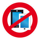 No mobile phones symbol on white background. Mobile phones on white background. Vector illustration Royalty Free Stock Images