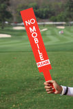 No mobile sign was shown by staff in golf tournament. Stock Images