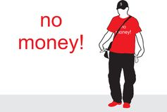 No money. The guy in the hat stock illustration