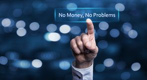 No money, no problems. Hand touch No money, no problems in screen Royalty Free Stock Images