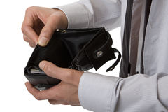 No money in the purse. As a symbol of the flop and financial difficulties Royalty Free Stock Image