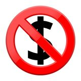 No money sign icon on white background. Simple flat No money sign icon on white background Stock Photography
