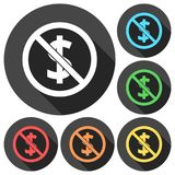 No money sign icons set with long shadow. Vector icon Stock Photography