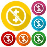 No money sign icons set with long shadow. Vector icon Royalty Free Stock Photography