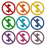 No money sign icons set. Vector icon Royalty Free Stock Image