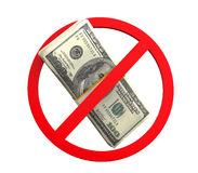 No Money Symbol. Isolated on white background. 3D render Stock Photography