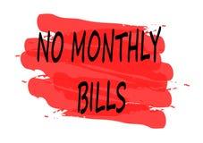 No monthly bills banner Stock Image