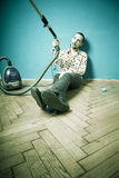 No mood for cleaning royalty free stock photography