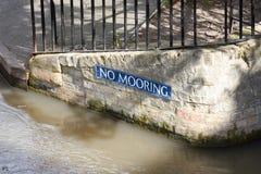 No Mooring sign on river bank Stock Photography